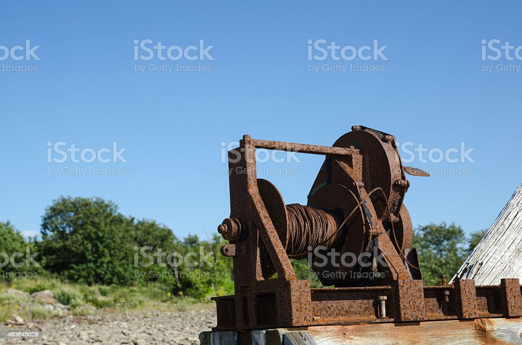 Old boat winch stock photo