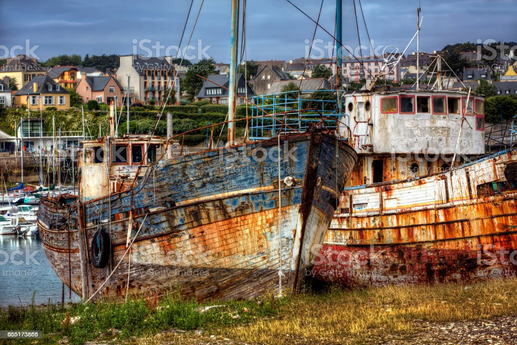 Old Boats at Camaret-sur-Mer, Brittany stock photo