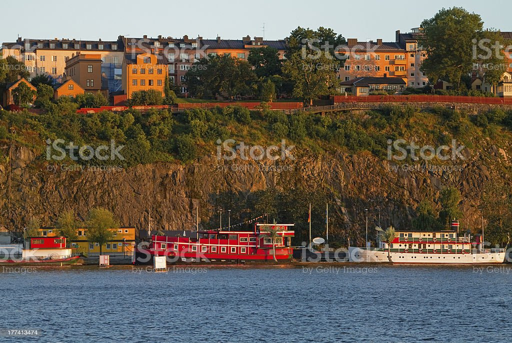 Old boats in Stockholm South. royalty-free stock photo
