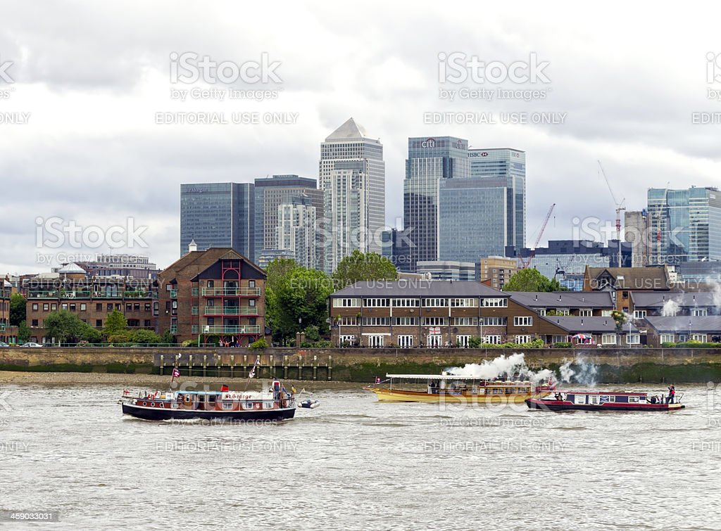 Old boats in the Thames stock photo