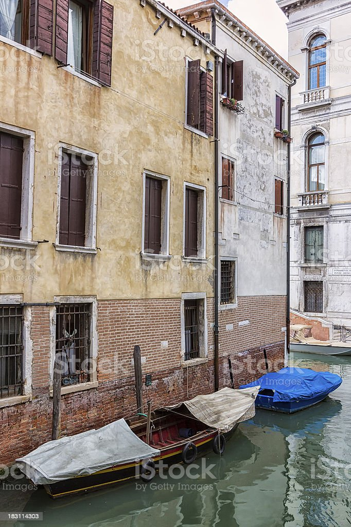 Old Boats in Venice, Italy stock photo
