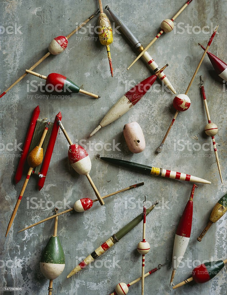 Old Bobbers royalty-free stock photo