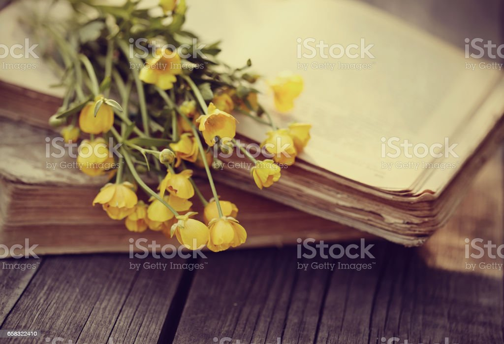 Old book and bouquet of buttercups on a wooden table. stock photo