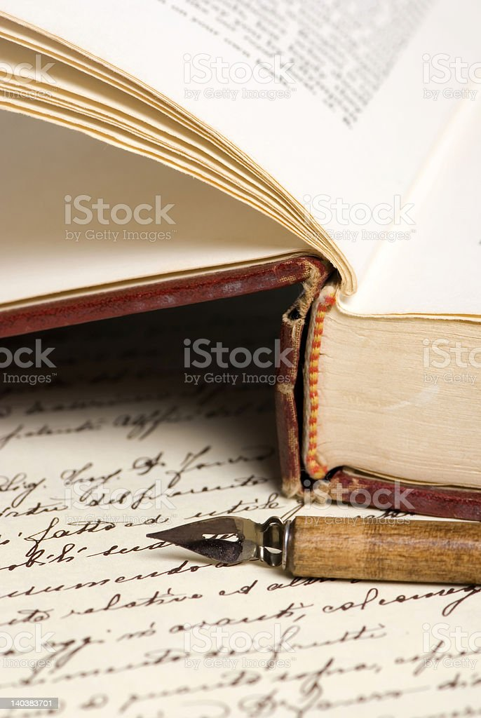 Old Book and Pen royalty-free stock photo