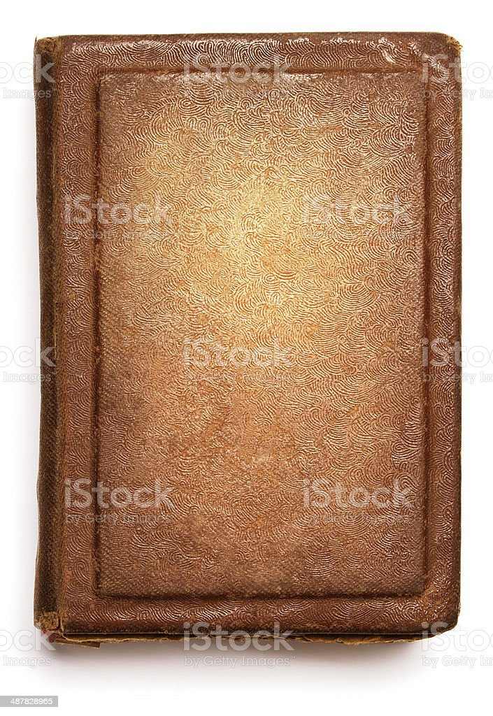 Old book cover, blank texture empty grunge design stock photo