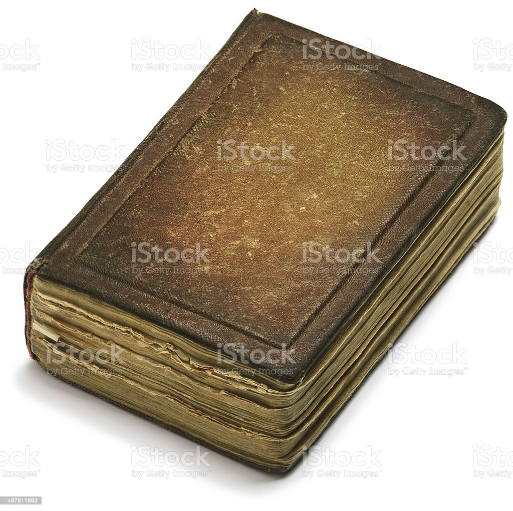 Old book cover brown paper, weathered ancient pages stock photo