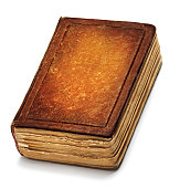 Old Book Cover, Vintage Leather Books Front Texture, White Isolated