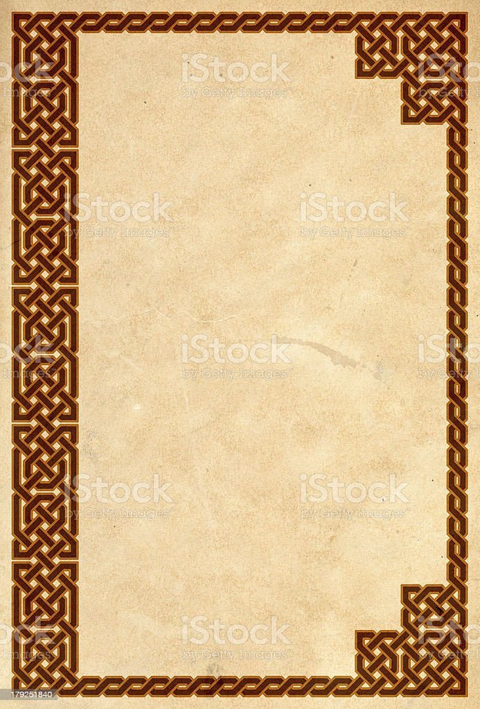 Old book cover with traditional celtic border stock photo