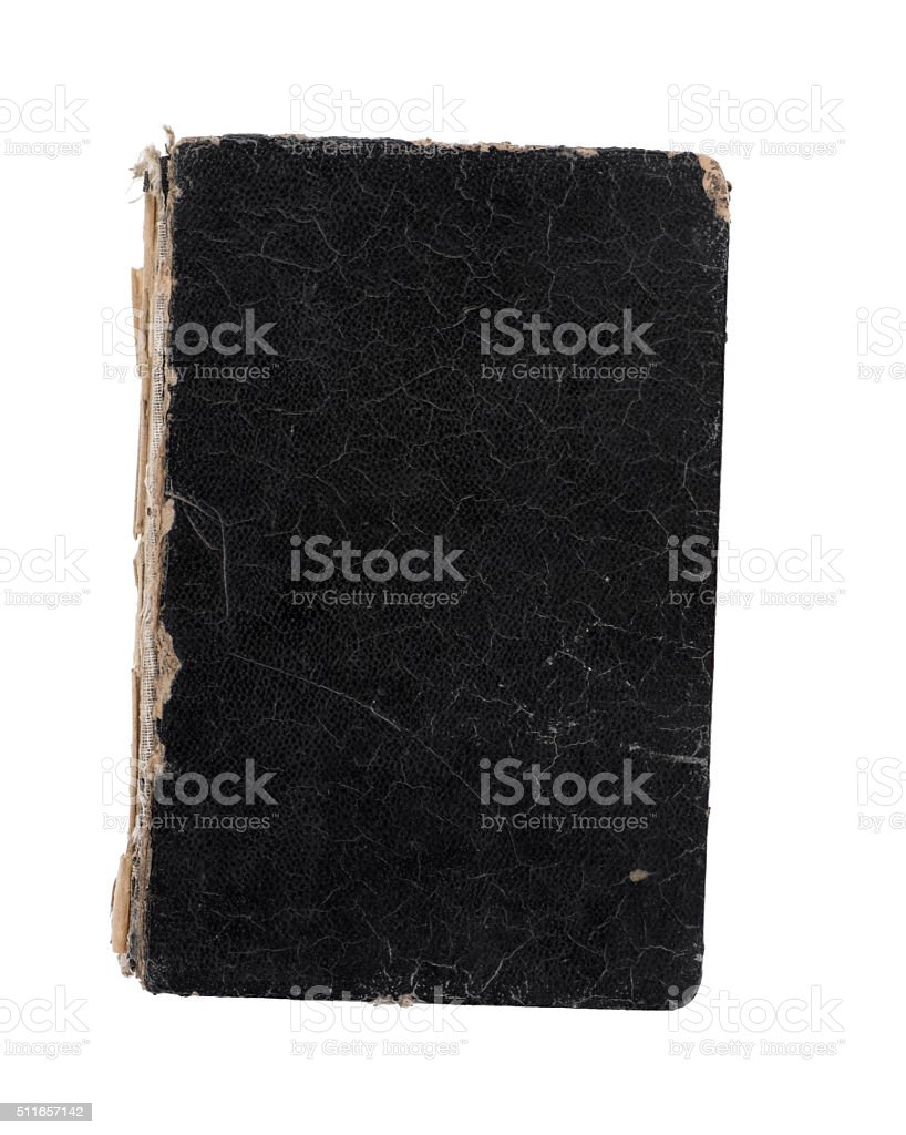 Old book isolated on white. Top view. stock photo