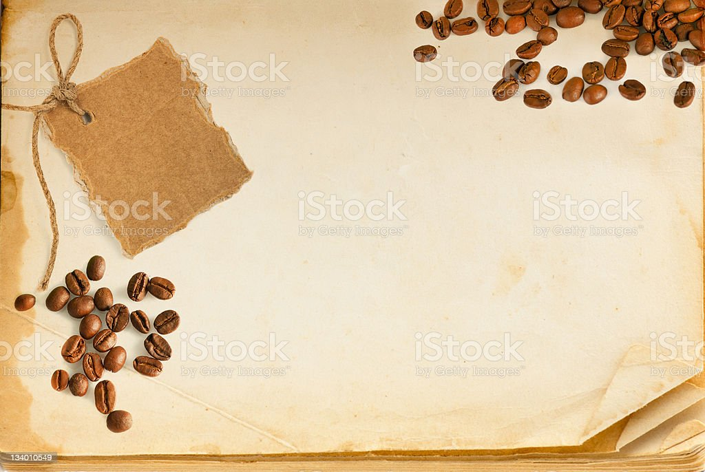 Old book page, coffee and cardboard blank royalty-free stock photo