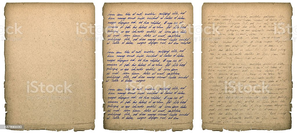 Old book page with worn edges Handwriting Paper texture background stock photo