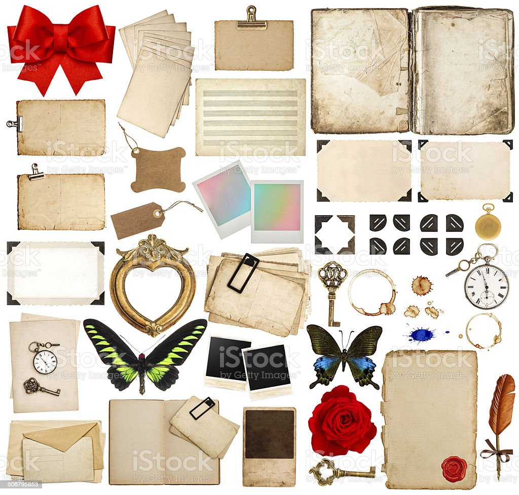old book pages, paper sheets, corner and photo frames stock photo