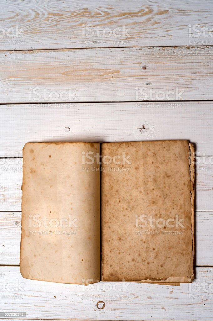 Old book pages with shadow. stock photo