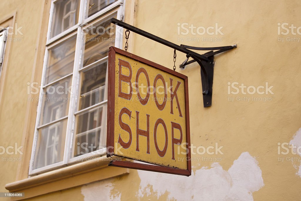 Old book shop sign stock photo