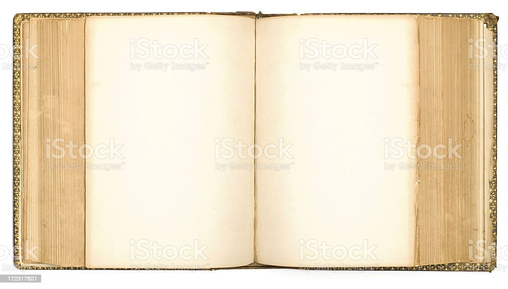 Old Book Showing Two Blank Pages Series royalty-free stock photo