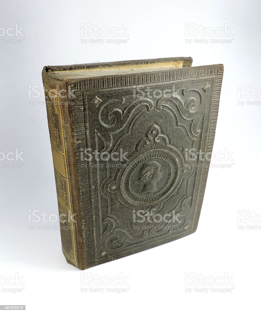 old book standing stock photo