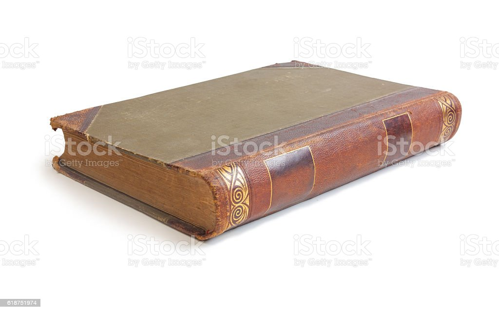 old book with a crumpled sheet stock photo