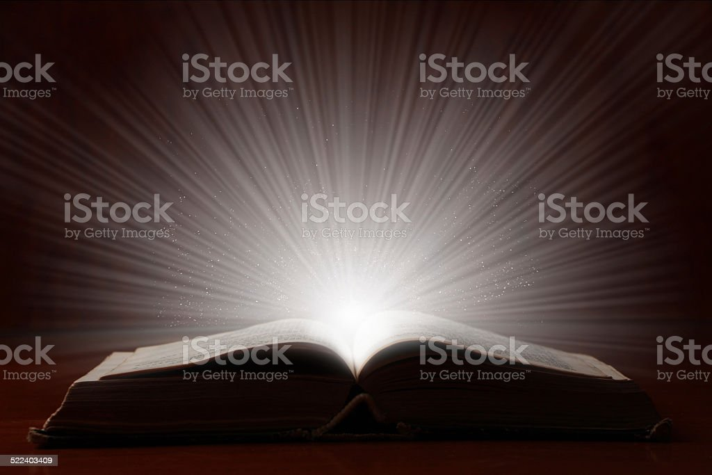 Old Book With Bright Light stock photo