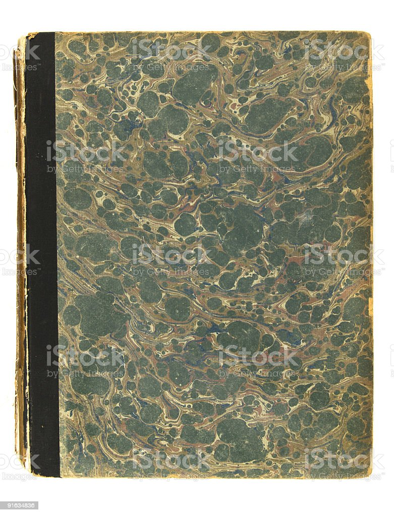 Old book with damaged cover stock photo