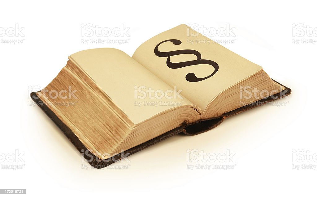Old Book with Paragraph Symbol stock photo