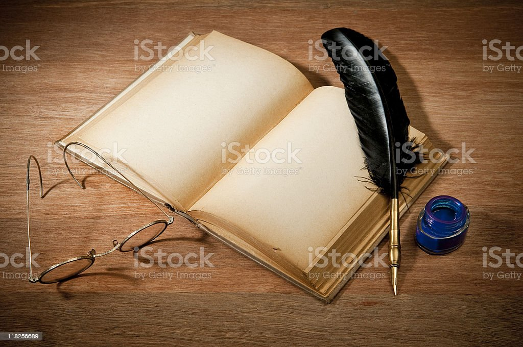 Old Book With Quill Pen stock photo