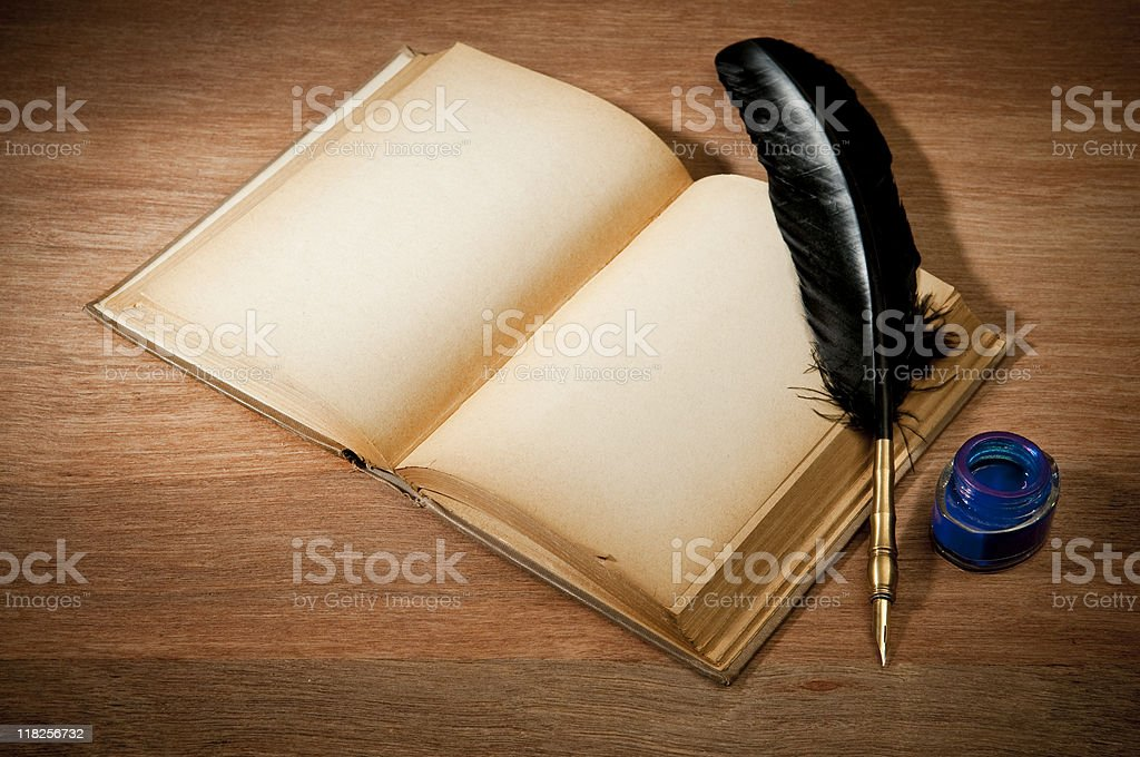 Old Book With Quill Pen royalty-free stock photo