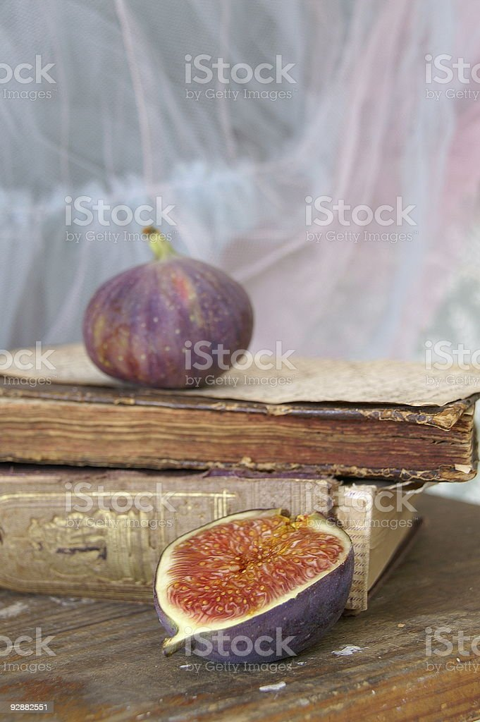 Old books and figs royalty-free stock photo