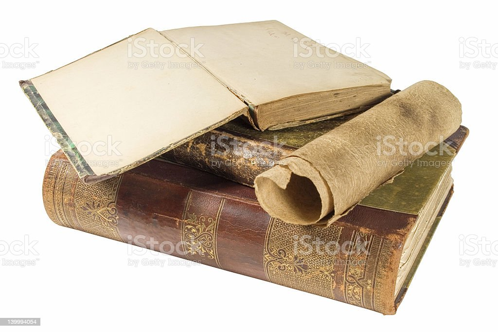 old books and paper scroll stock photo