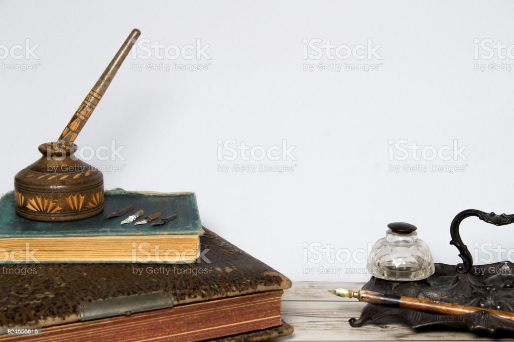 old books and pens stock photo