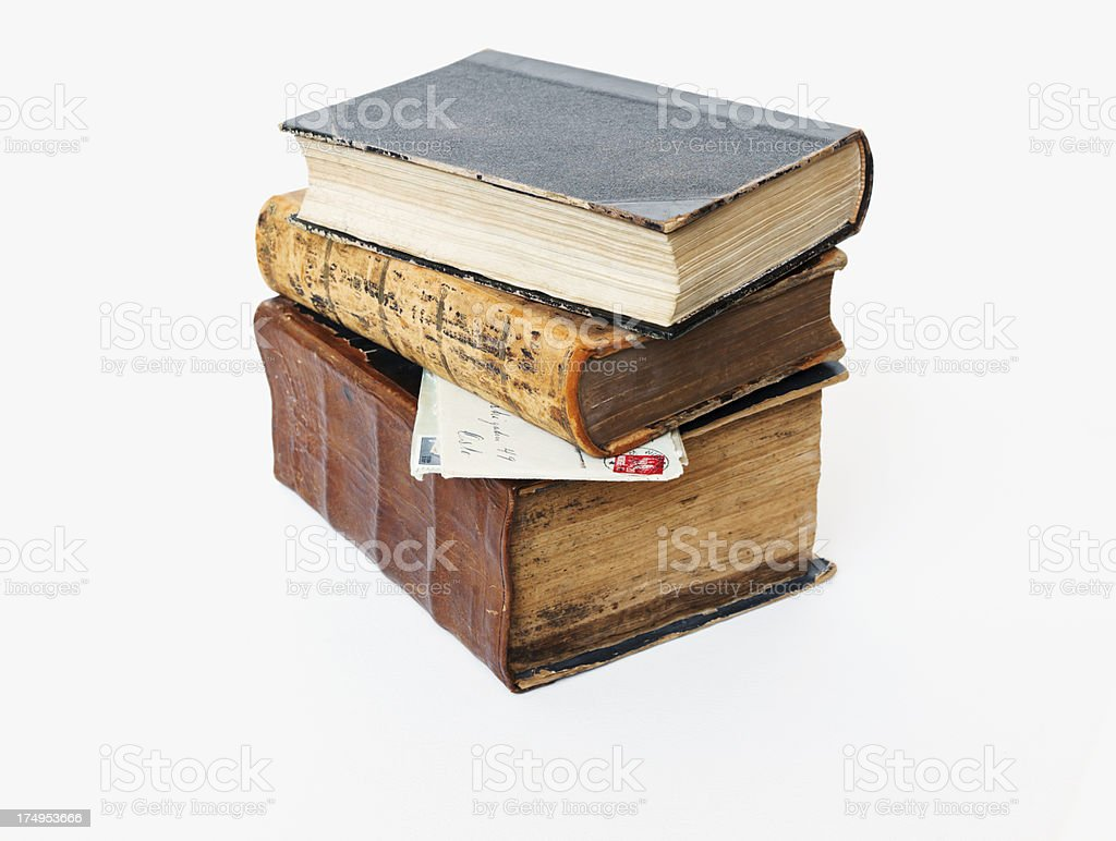 Old books and vintage letters. stock photo