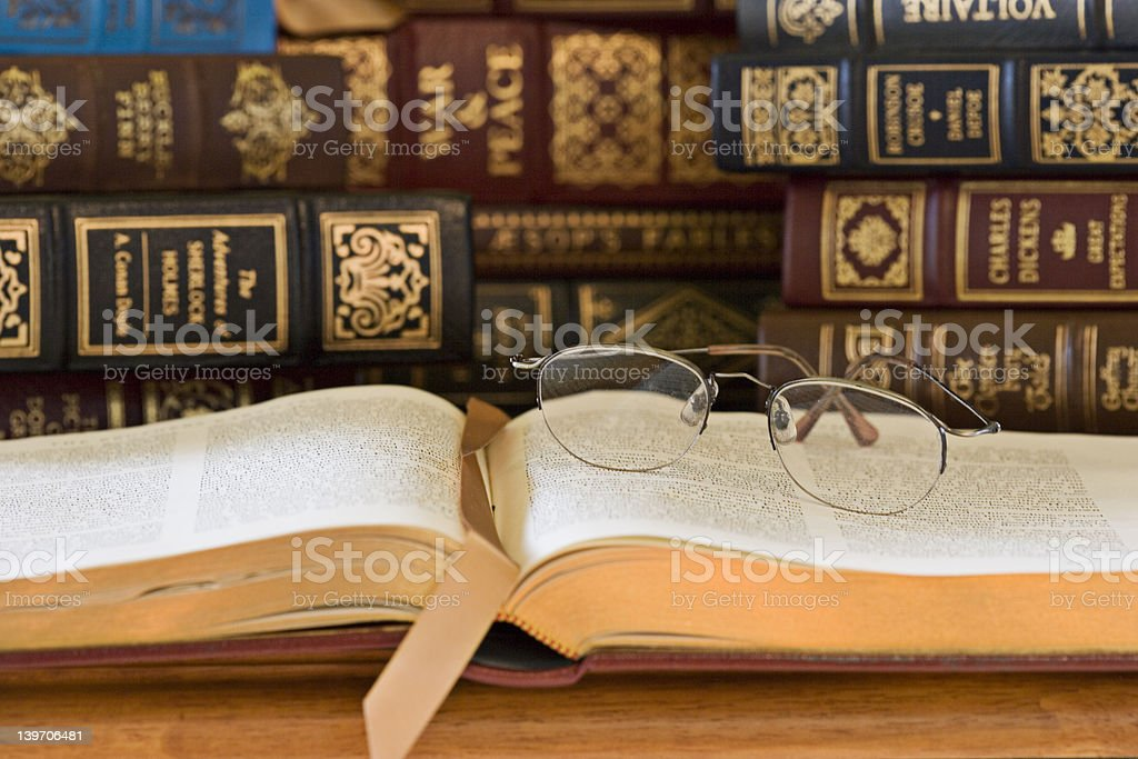 Old Books & Glasses stock photo