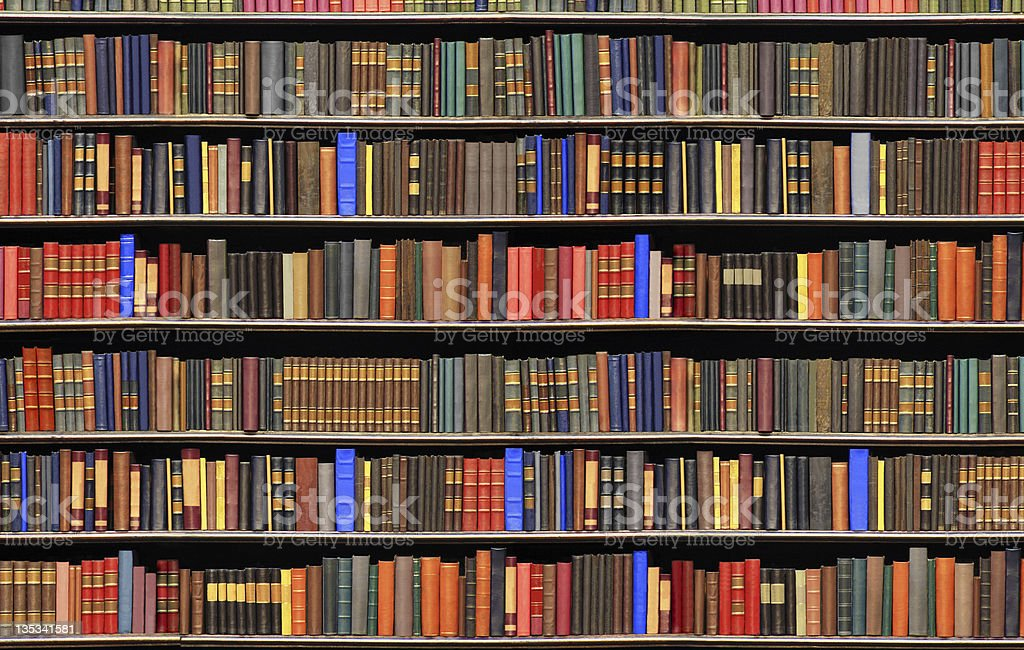 Old books in a library - BIG FILE royalty-free stock photo