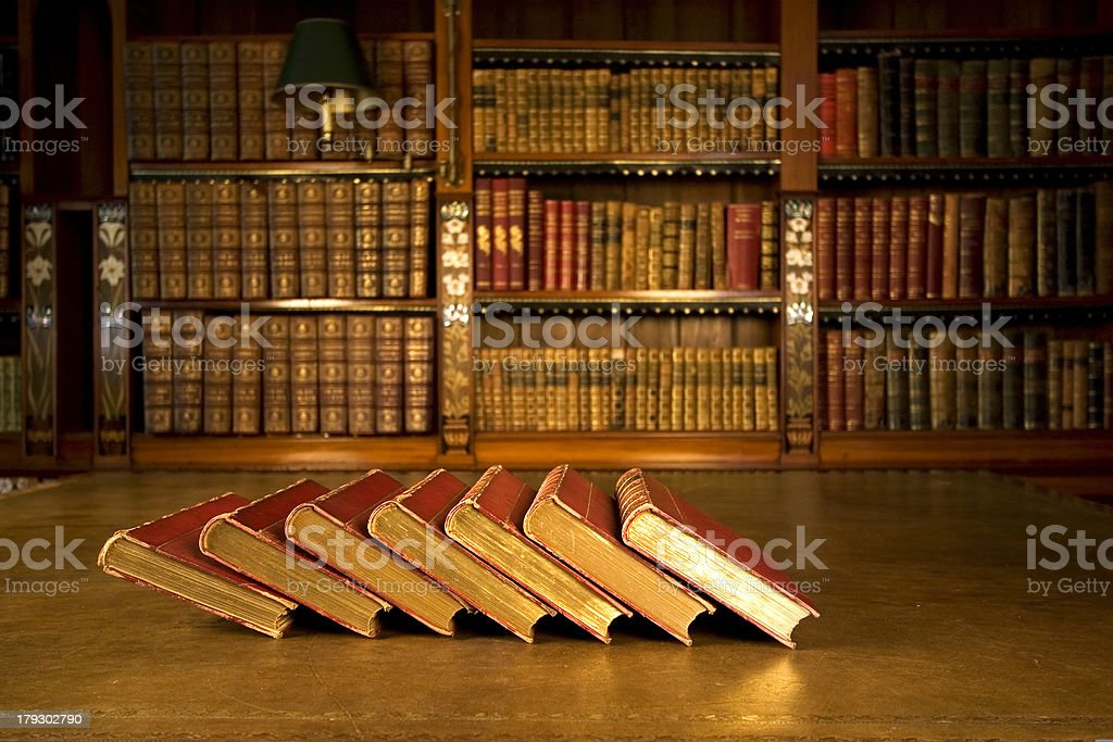 Old books in classic library royalty-free stock photo