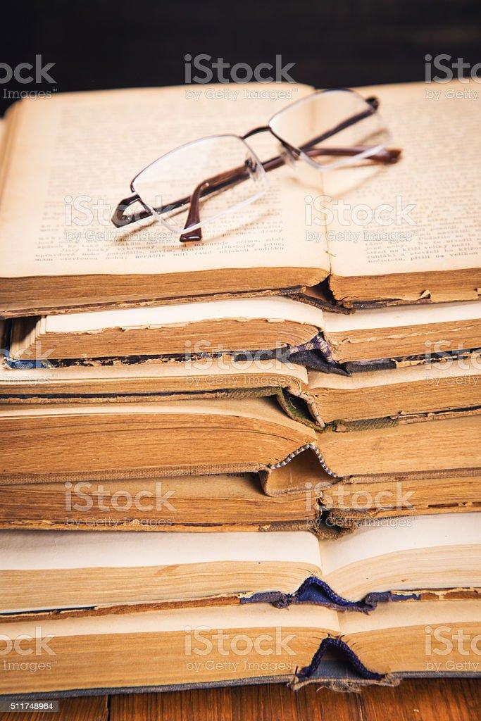 old books in studio stock photo