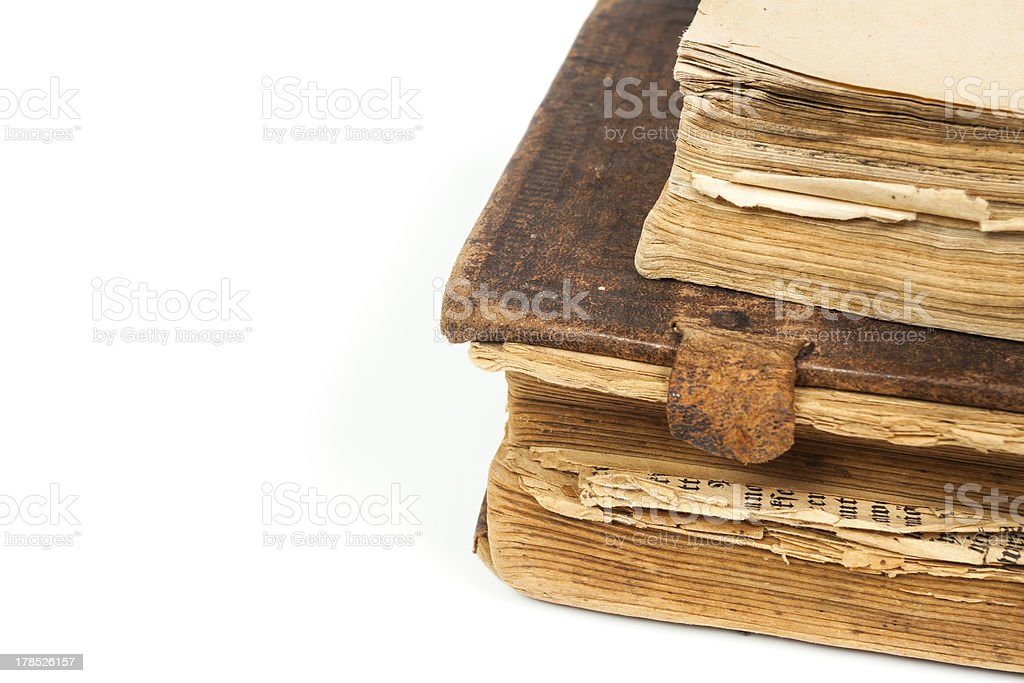Old books isolated on a white royalty-free stock photo