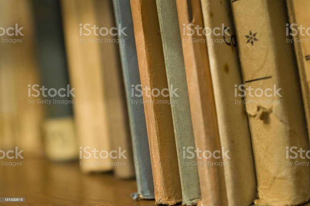 Old books on shelve royalty-free stock photo