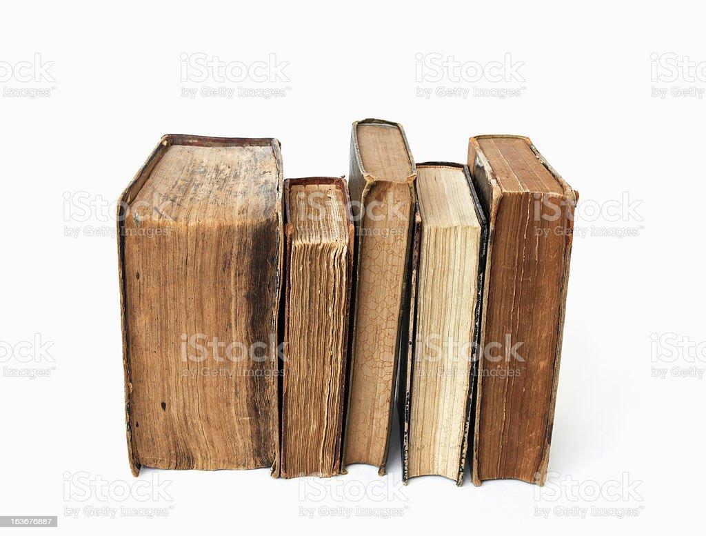 Old books on white background. stock photo