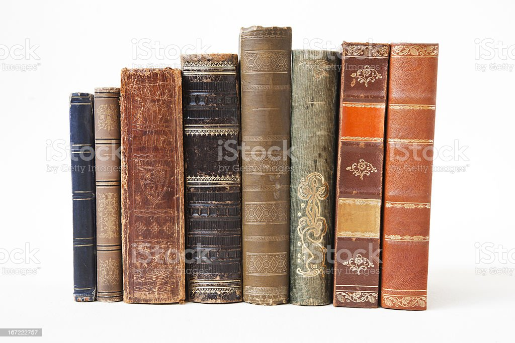 Old books on white background. stock photo