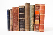 Old books on white background.
