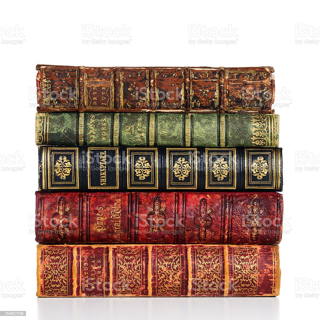 Old Books on white stock photo