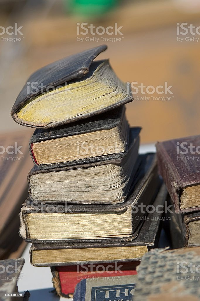 ANTIQUE MARKET Old BOOKS royalty-free stock photo