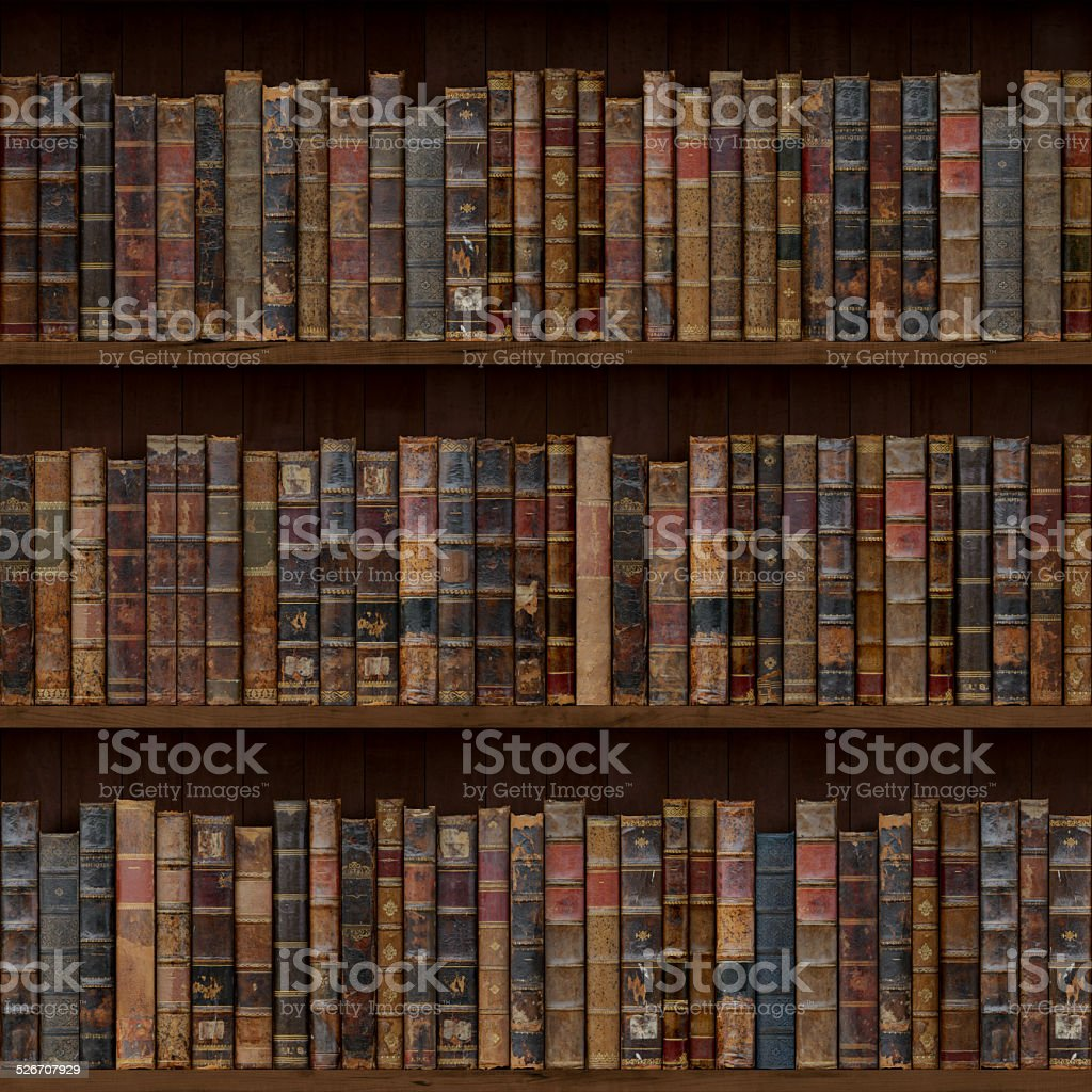 Old books seamless texture (vertically and horizontally) stock photo