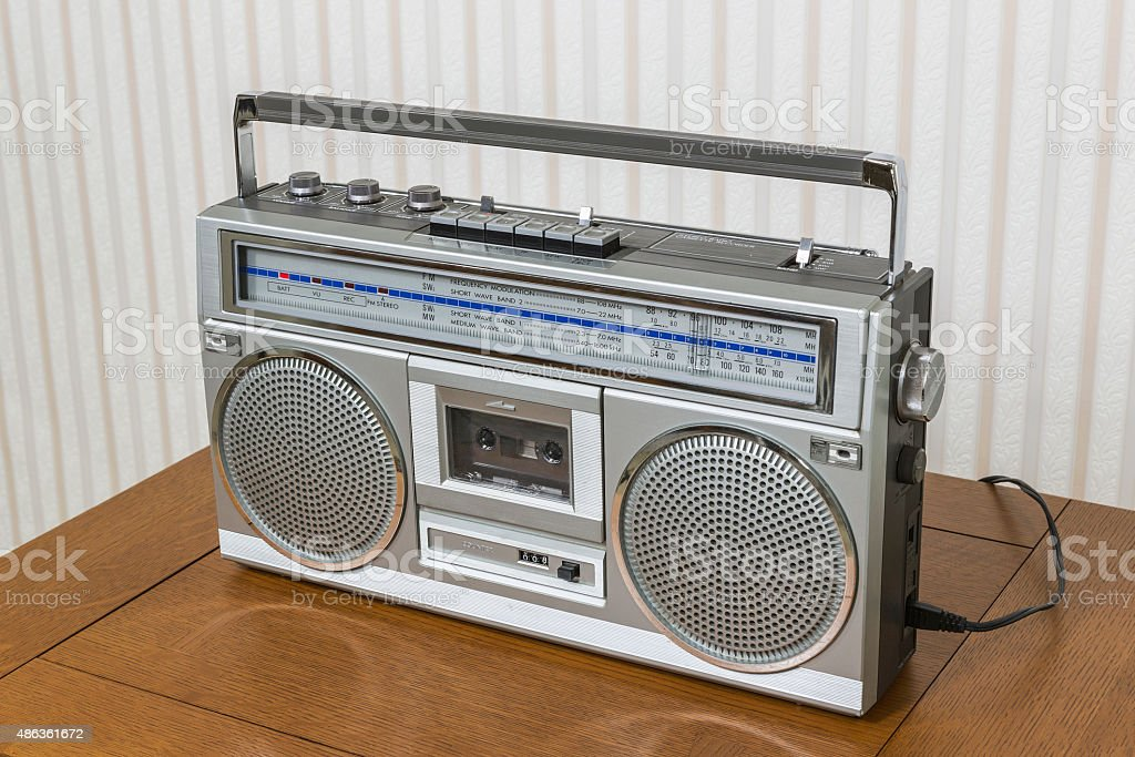 Old Boom Box on Table stock photo