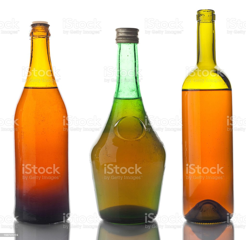 Old bottles with some crust royalty-free stock photo