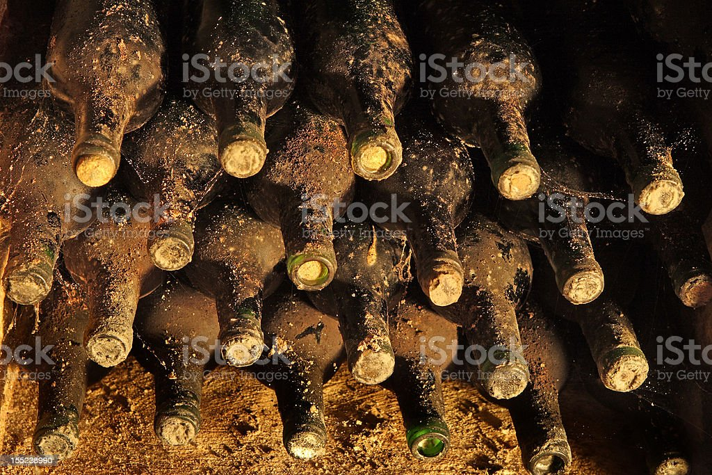 old bottles with wine are in collection of vintage wines royalty-free stock photo