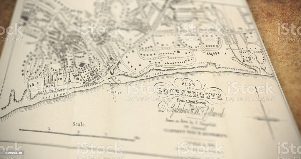 Old Bournemouth Map stock photo
