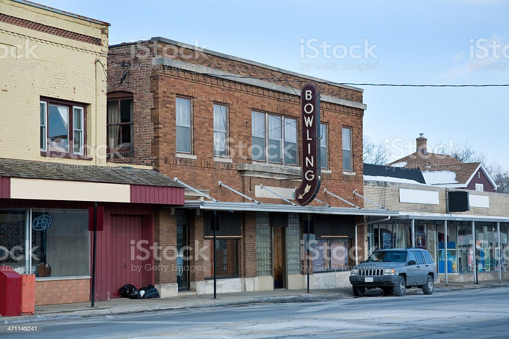 old bowling alley exterior royalty-free stock photo