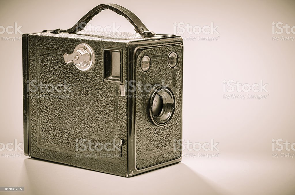 Old box camera in black and white stock photo