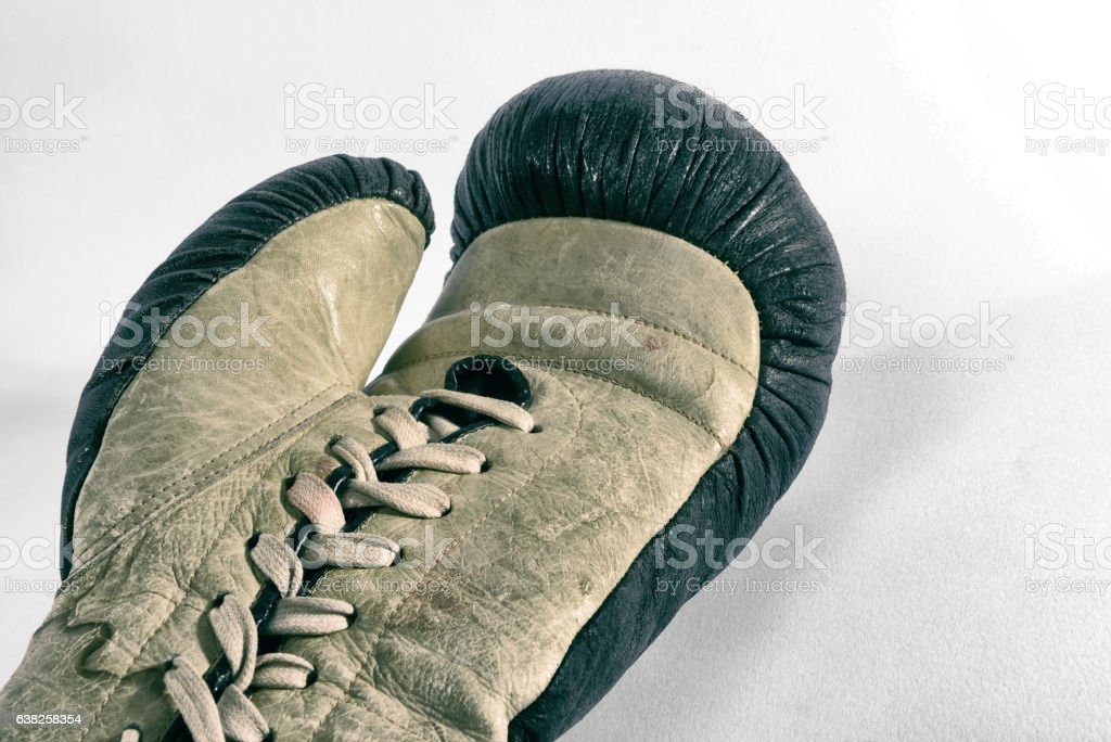 Old boxing glove stock photo
