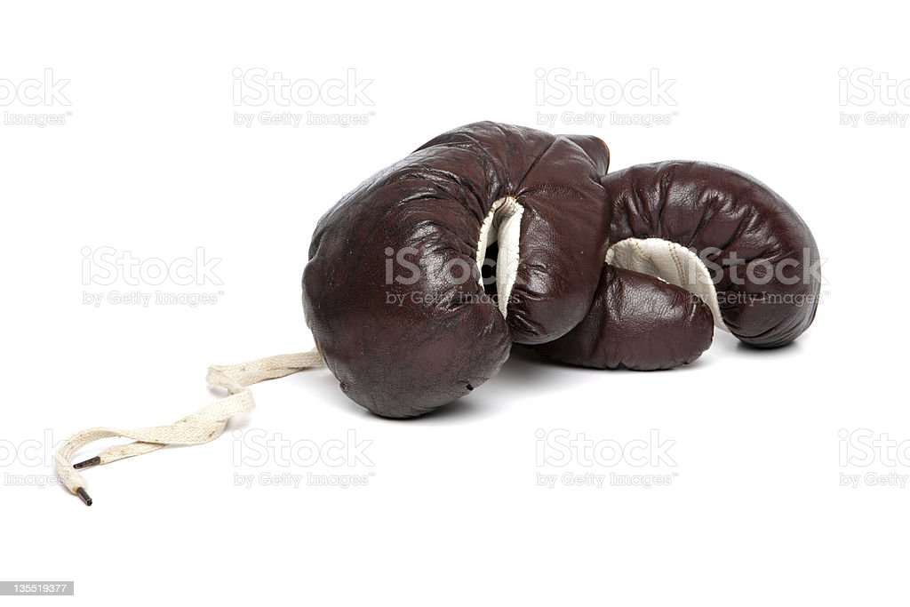 Old boxing gloves royalty-free stock photo